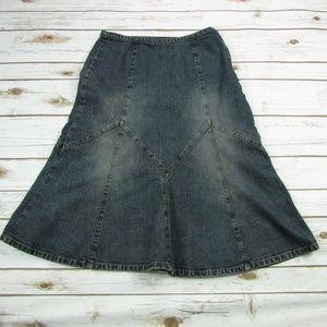 Ann Taylor Loft Jeans Skirt 4 Flared Zig Zag Panel